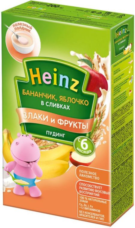 Heinz пудинг бананчик с яблочком в сливках (с 6 месяцев) 200 г