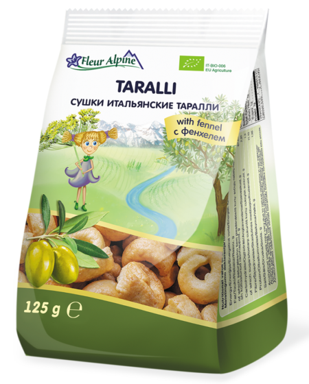 Fleur Alpine семьи сушки итальянские «TARALLİ» c фенхелем для всей , 125 г