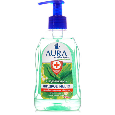 Aura антибактериальное жидкое мыло подорожник 300 мл