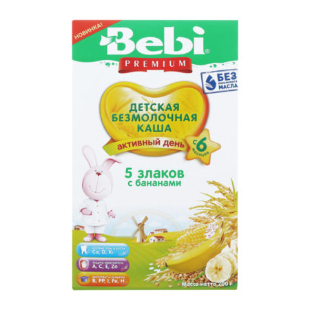 Bebi каша б/м 5злаков банан  200 гр