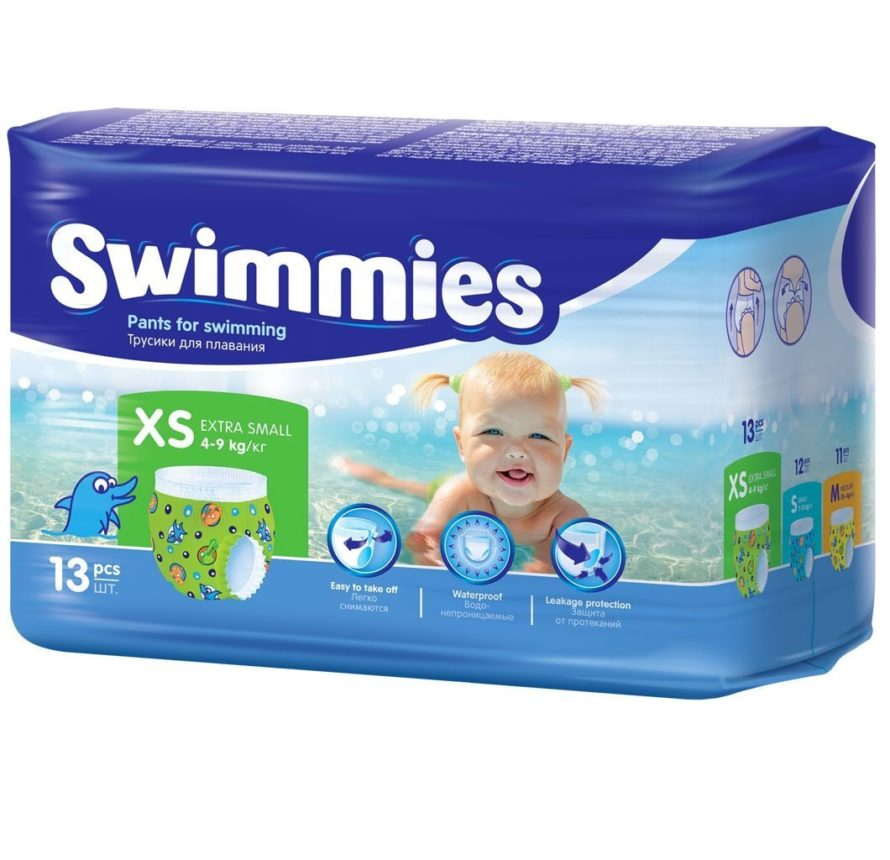 Детские трусики для плавания Swimmies X-Small 4-9 кг 13 шт