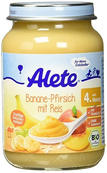 Alete пюре банан  персик с рисом   190 гр