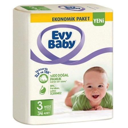 Evy Baby подгузники 3 (5-9 кг) 34 шт