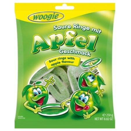 Gunz Foam-sugar gummi apple rings sour 250 g